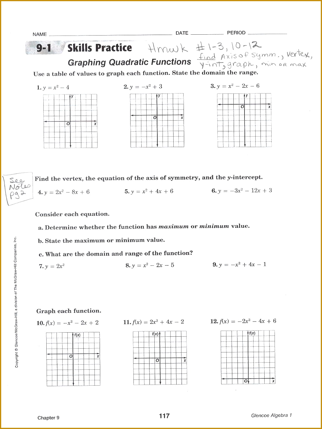 6 Domain And Range Worksheet 1