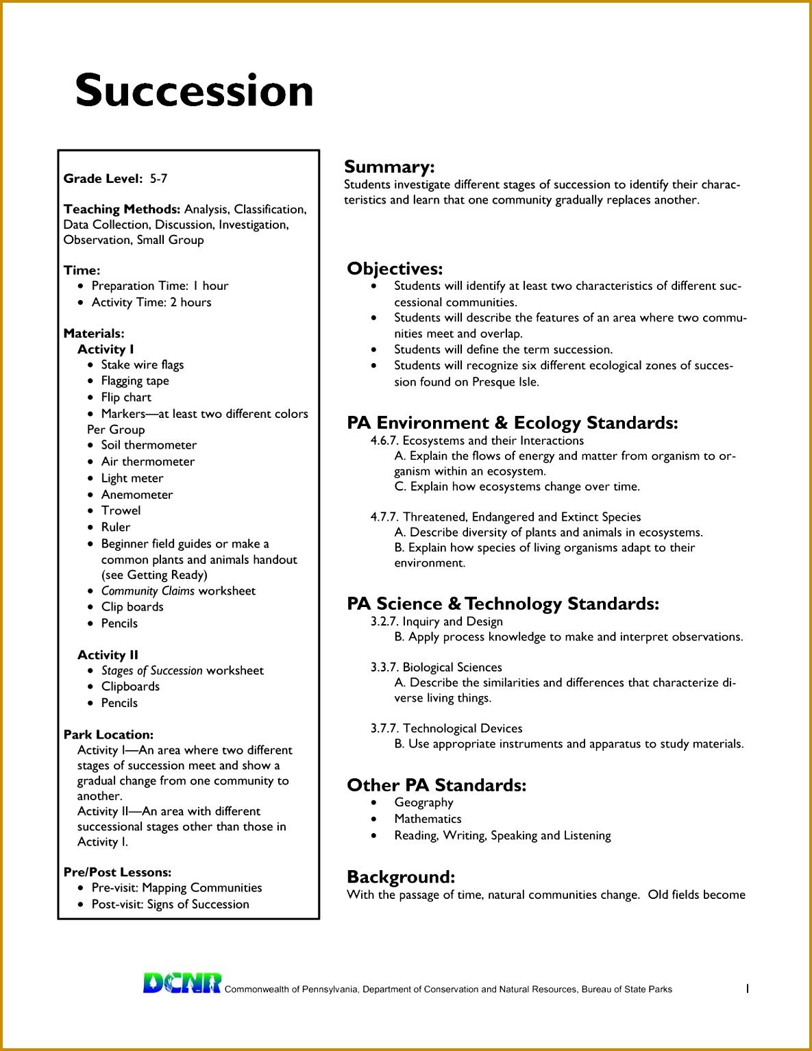 5 Ecological Succession Worksheet