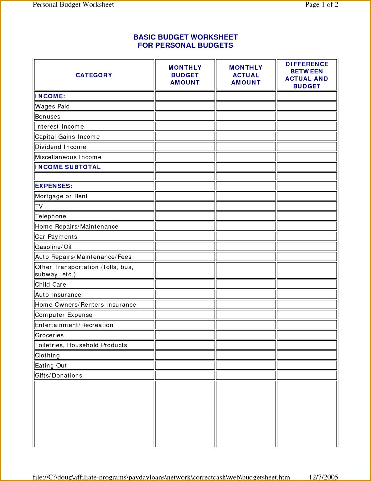 Sample Family Budget Worksheet