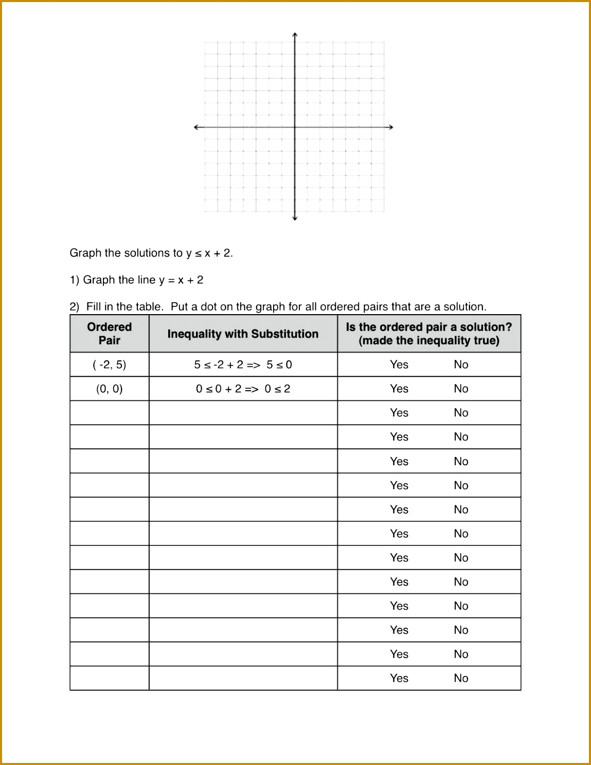 3 Inequalities Worksheet