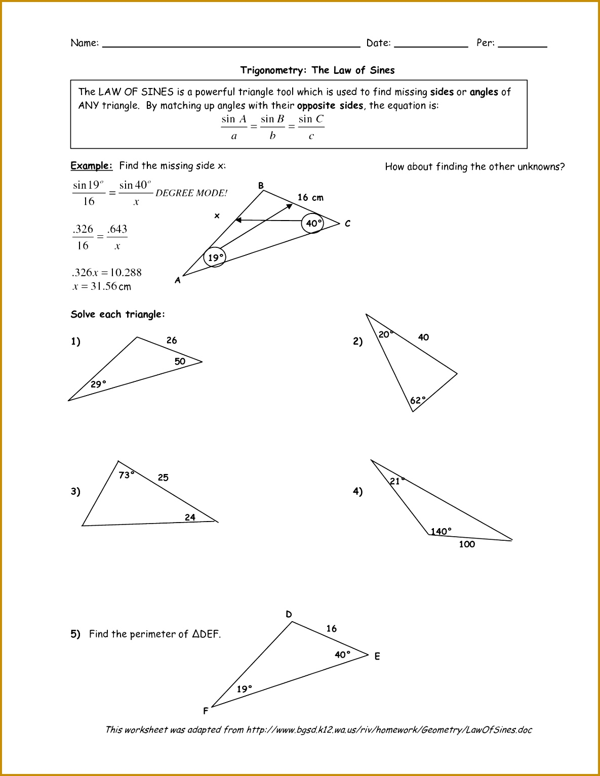 3 Law Of Sines Worksheet