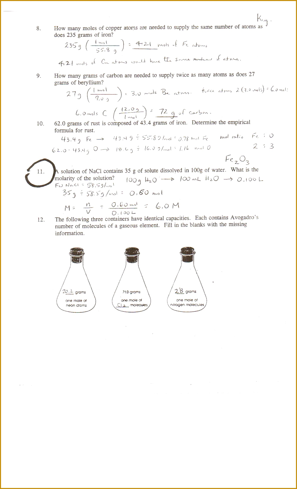 3 Mole Calculation Worksheet