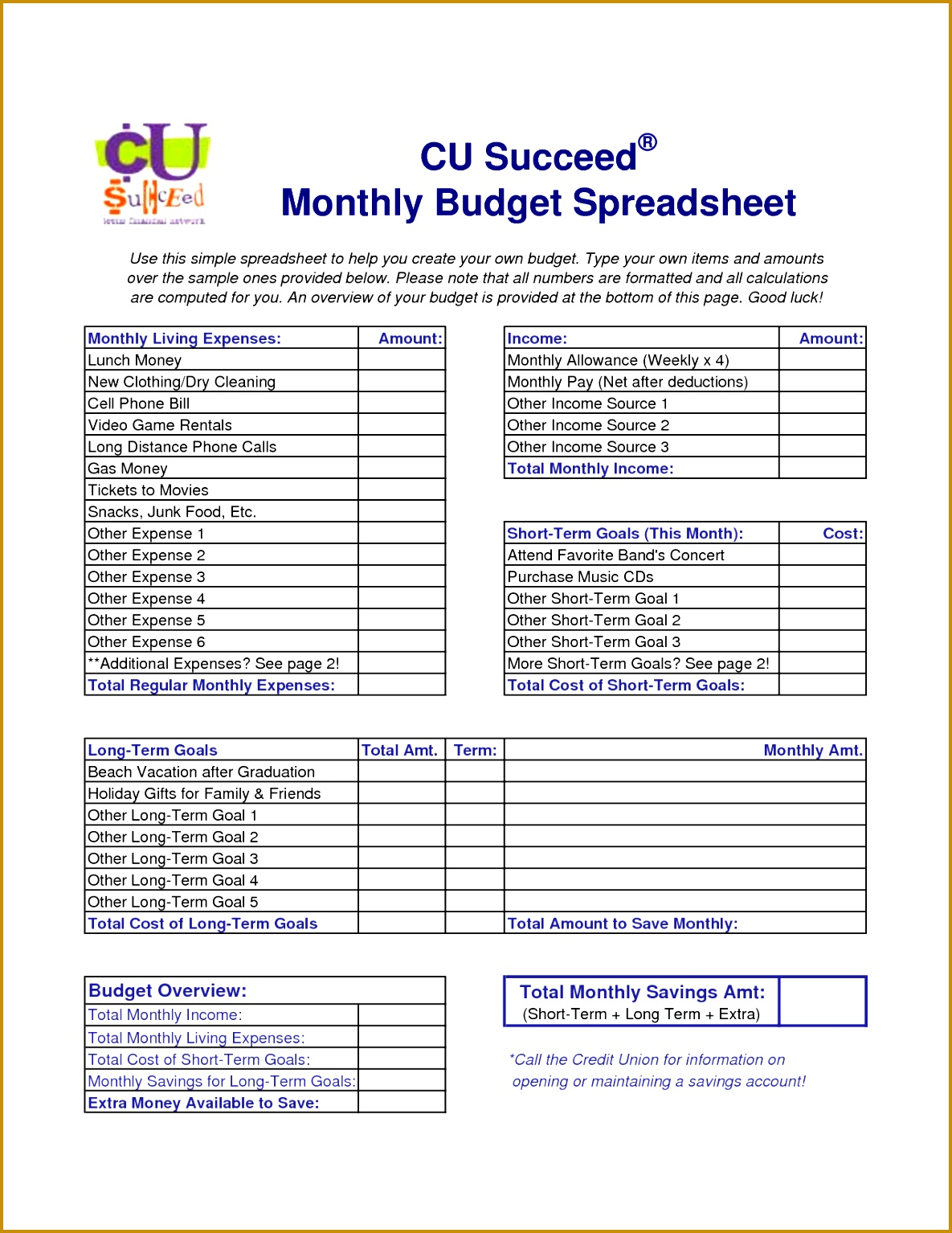 5 Monthly Budget Worksheet