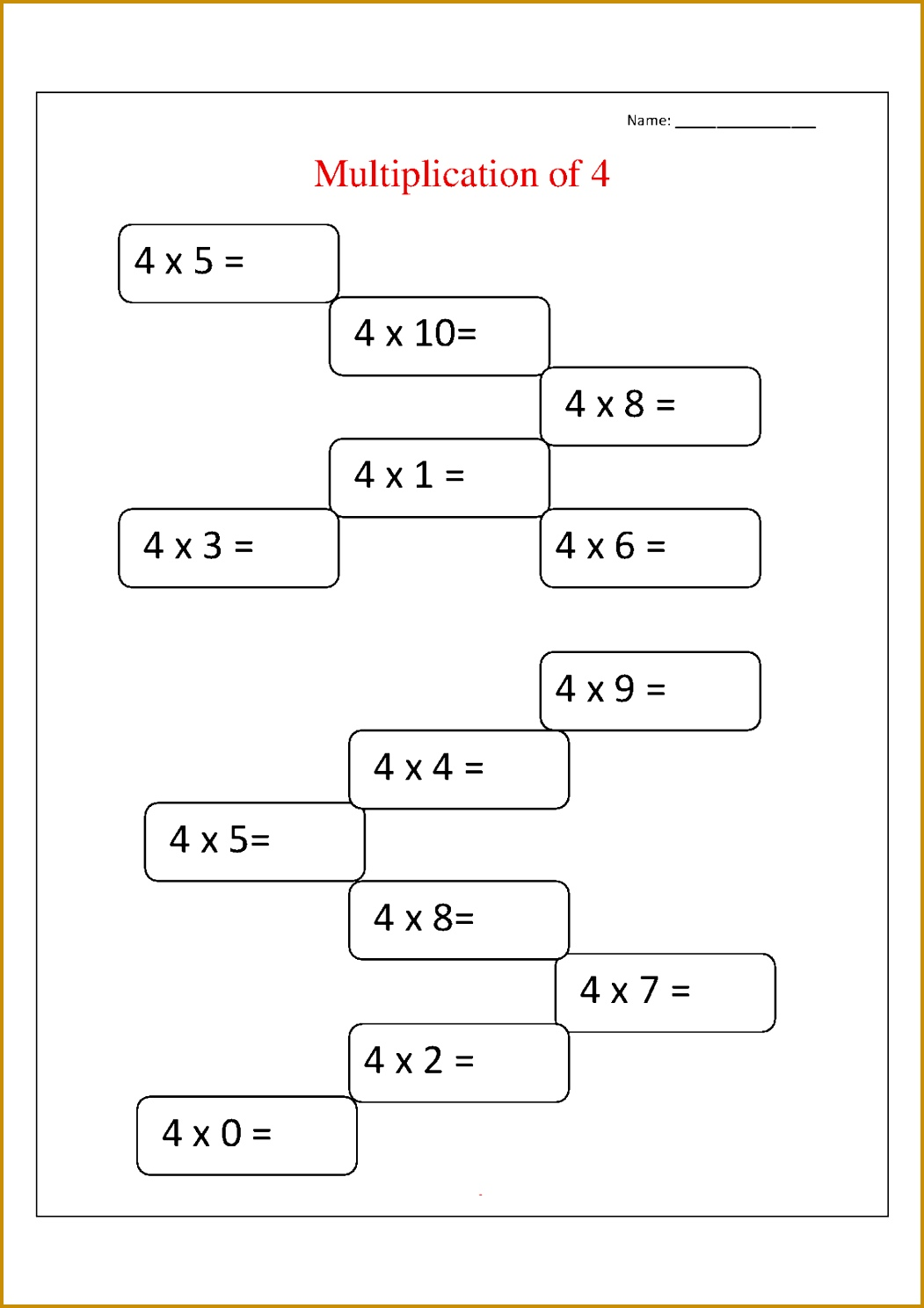 5 Multiplication Facts Worksheet
