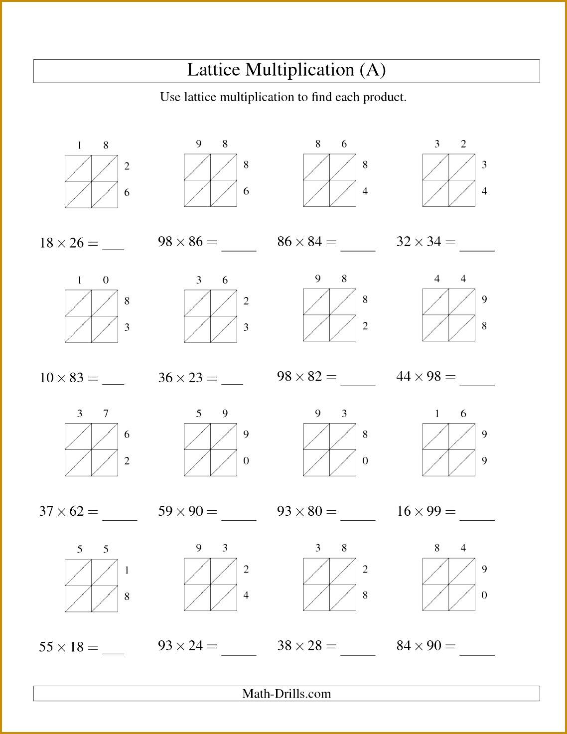 4 Multiplication Worksheet