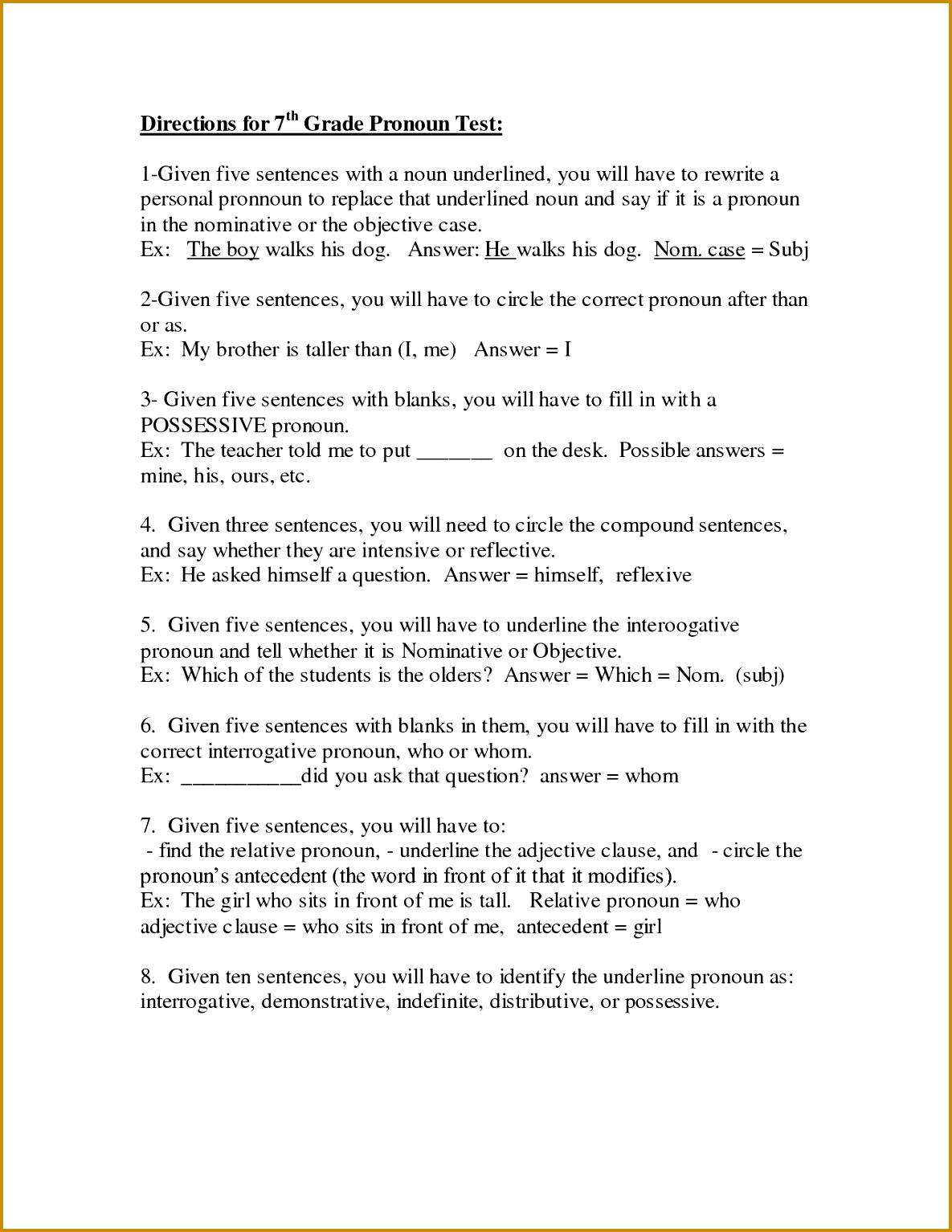 7 Nouns Worksheet