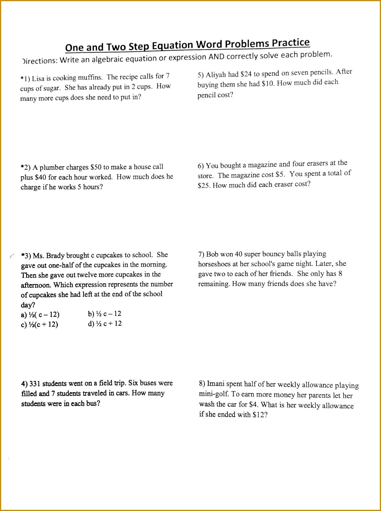 6 One Step Equations Worksheet