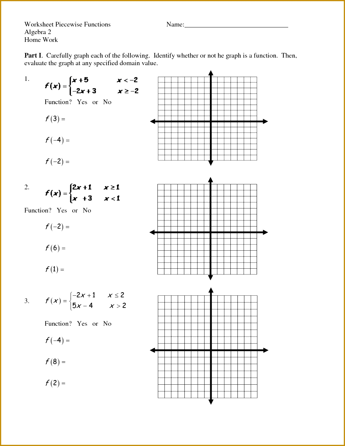 7 Piecewise Functions Worksheet