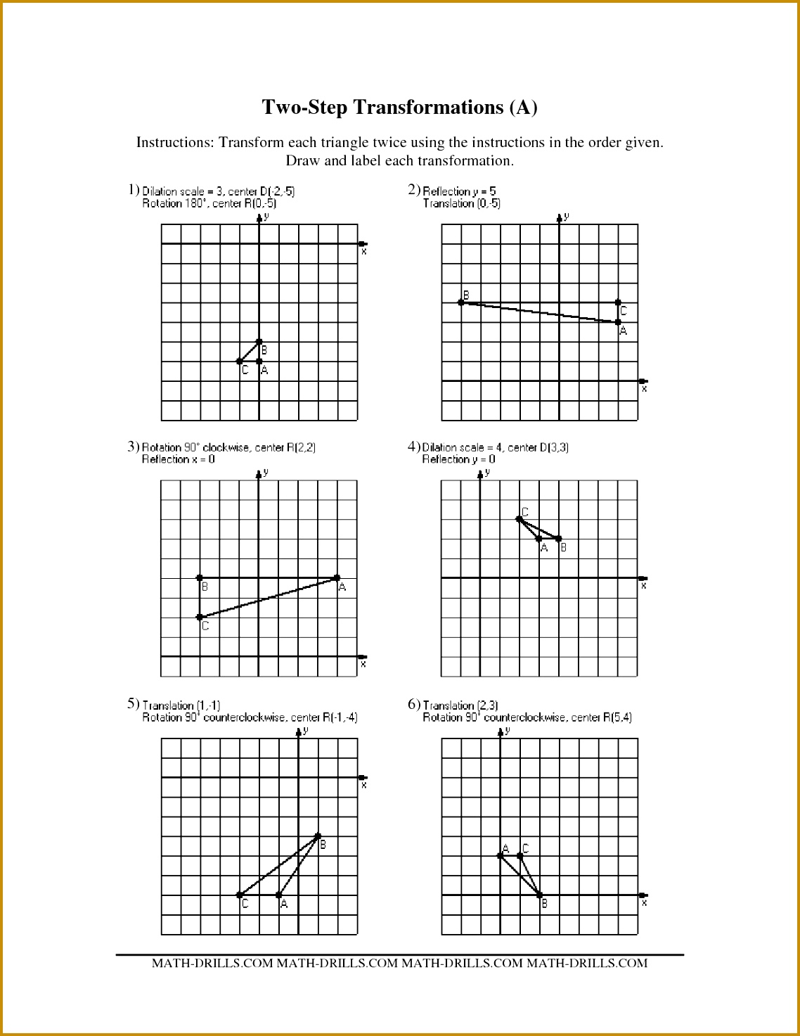 3 Rotations Worksheet 8th Grade
