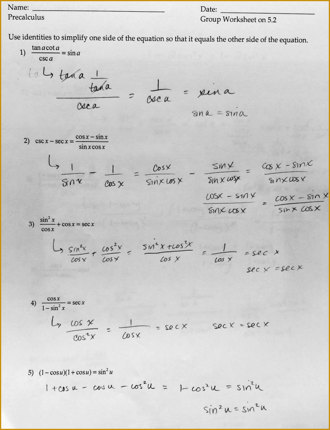 7 Simplifying Trigonometric Identities Worksheet