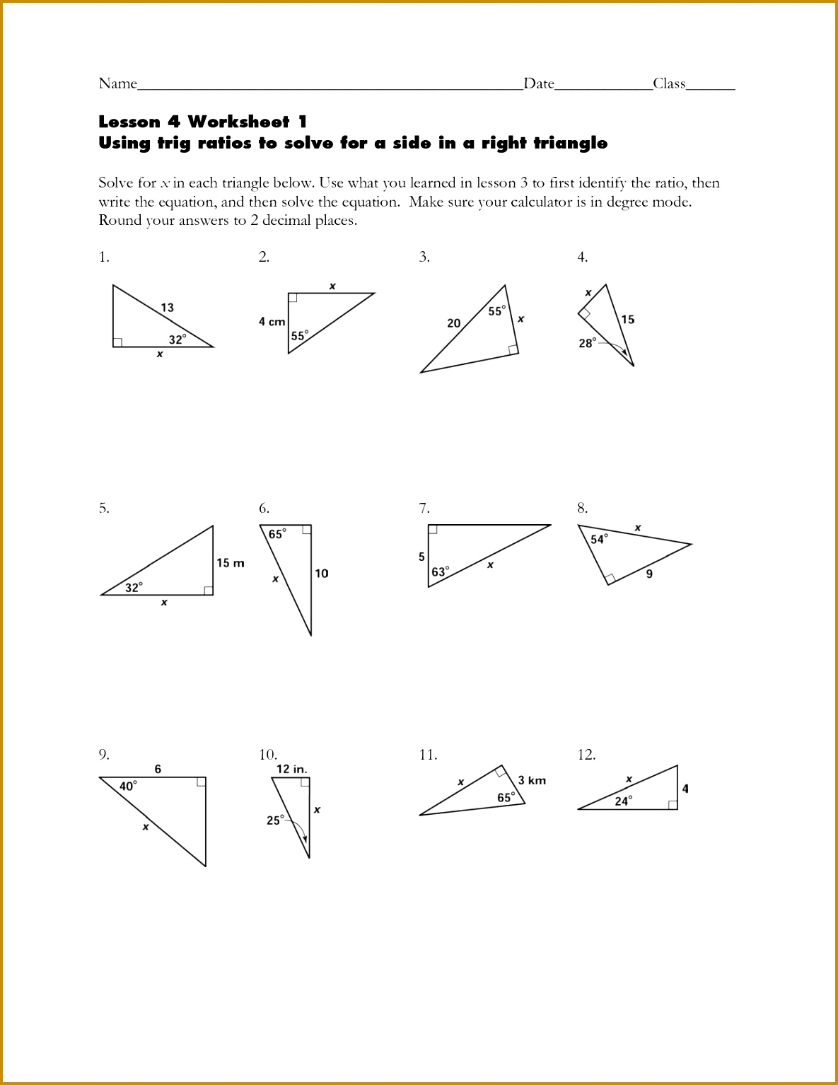 7 Sohcahtoa Worksheet