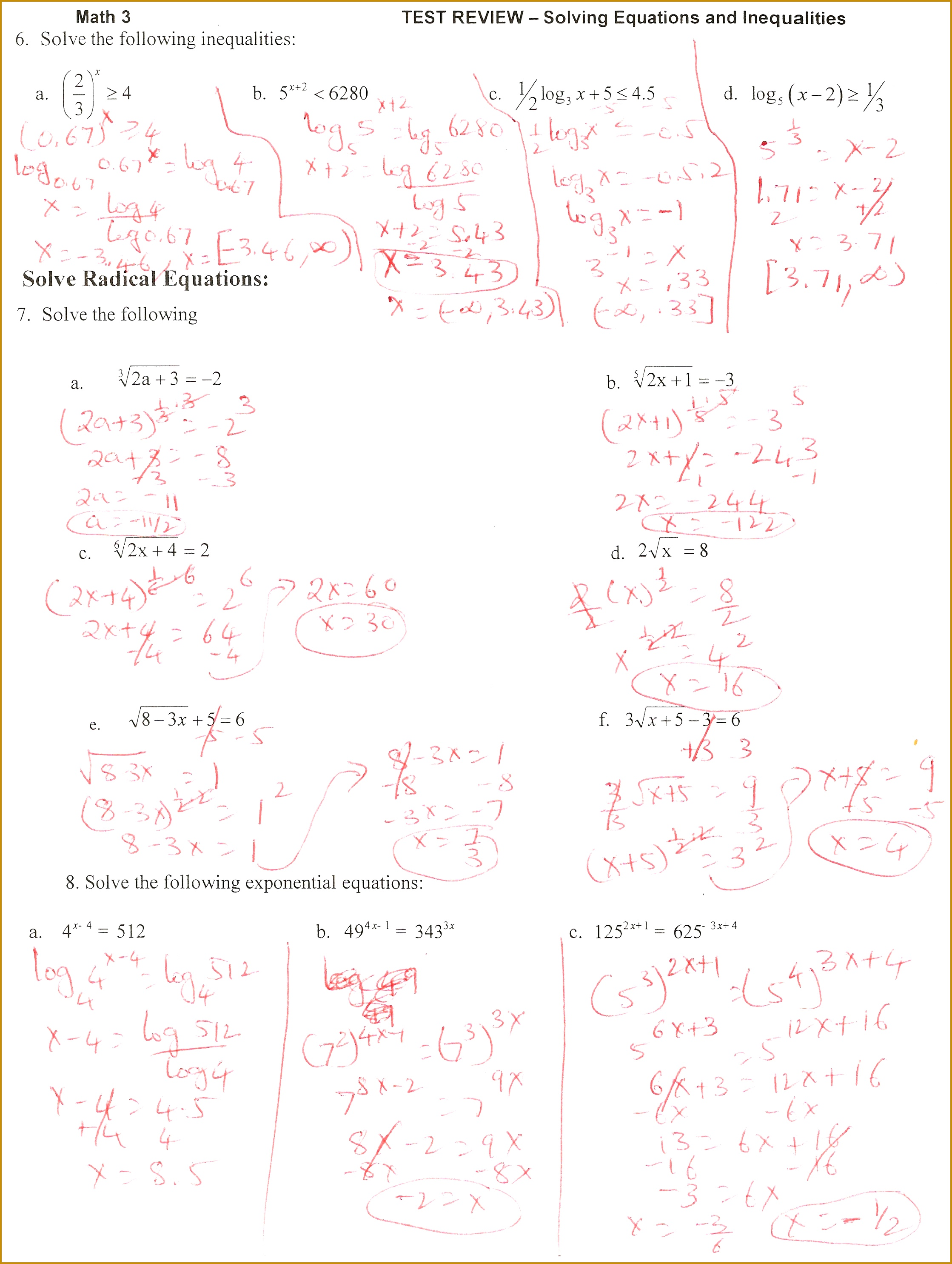 7 Solving Equations With Variables On Both Sides Worksheet