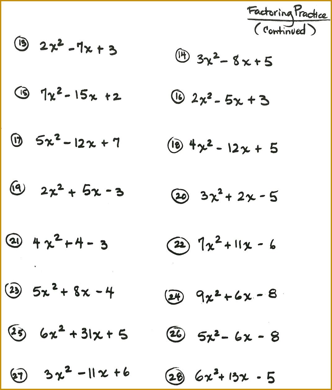 3 Solving Quadratic Equations Worksheet