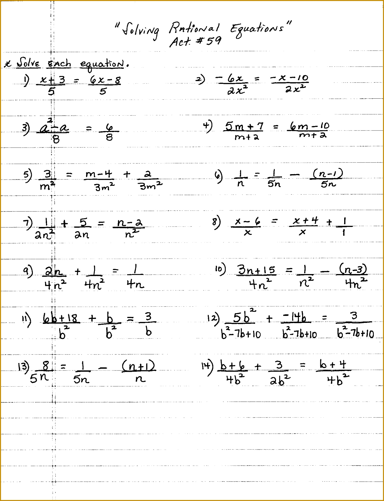 3 Solving Rational Equations Worksheet Answers