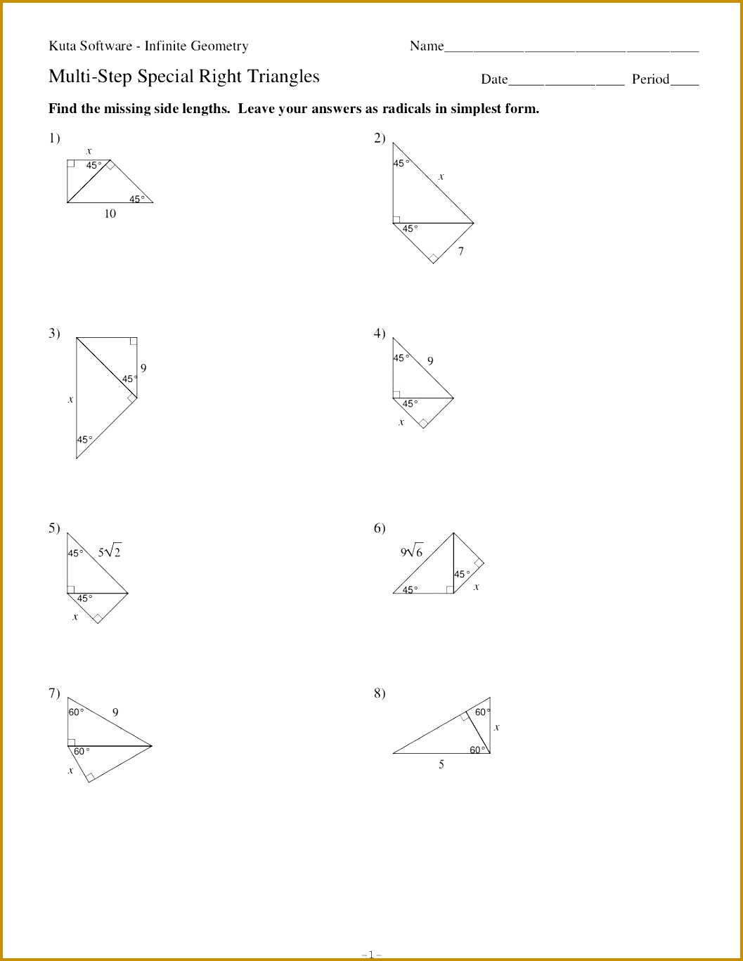 4 Special Right Triangles Worksheet Answers