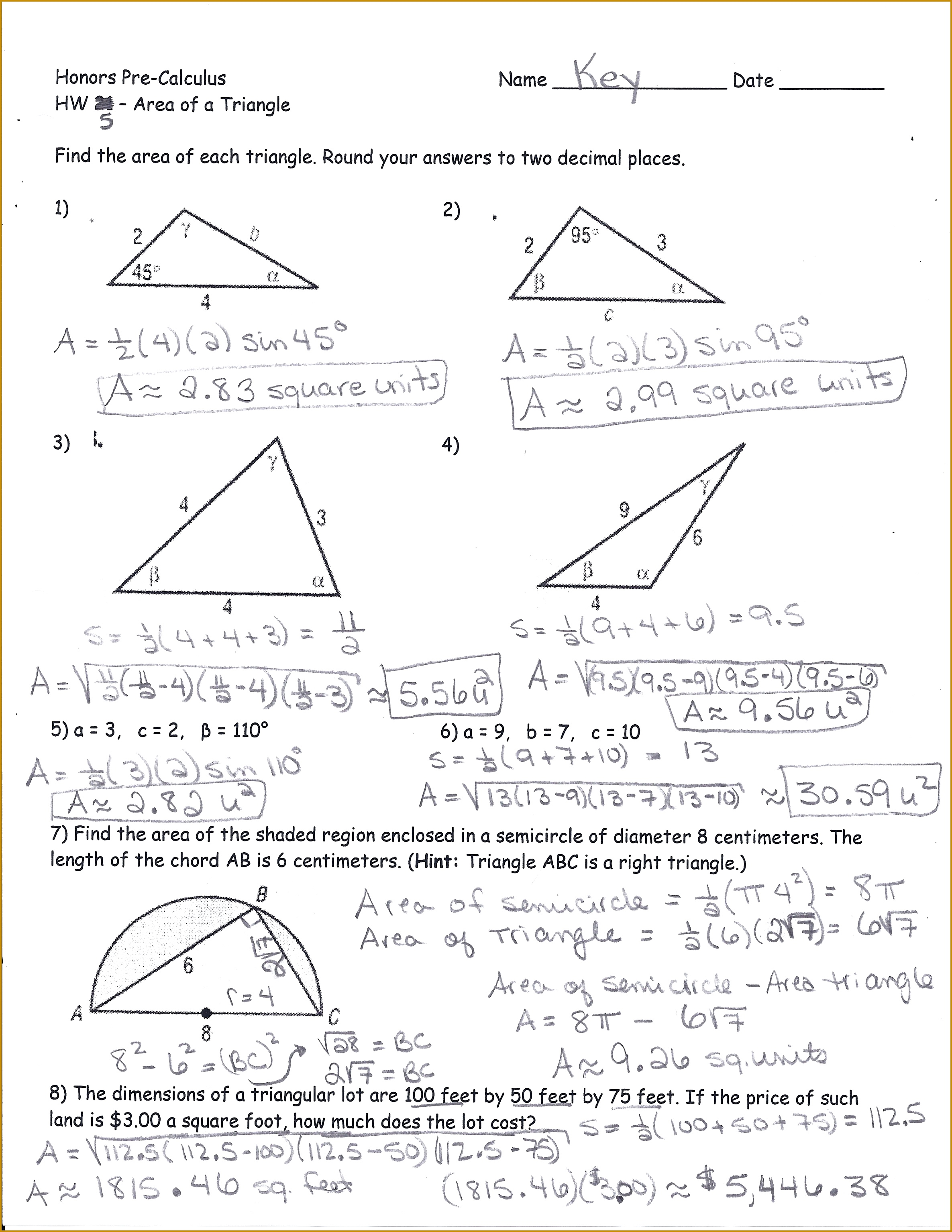 6 Trigonometry Word Problems Worksheets With Answers