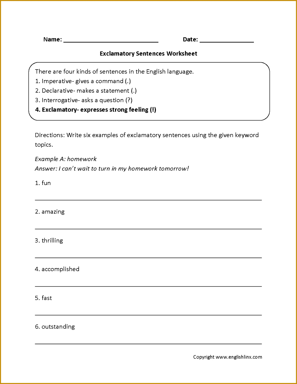 5 Types Of Sentences Worksheet