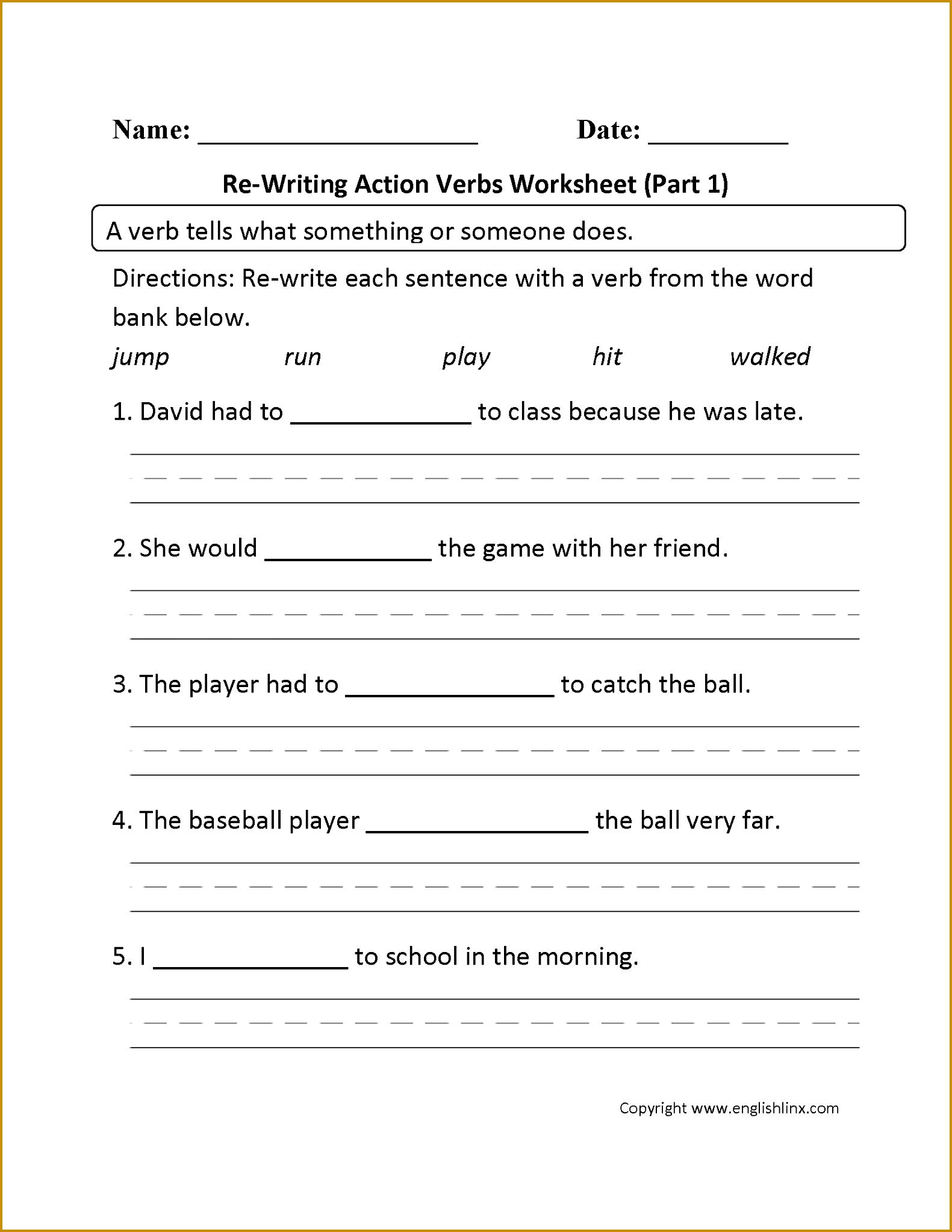 5 Verb Tense Worksheets