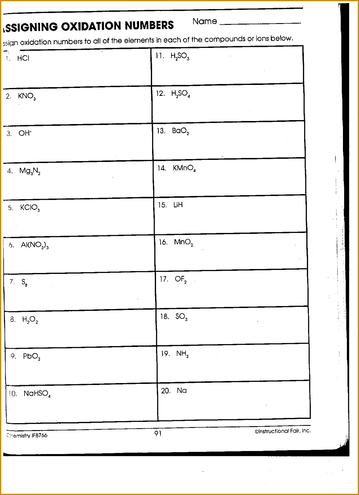Worksheet Oxidation Numbers Answer Key