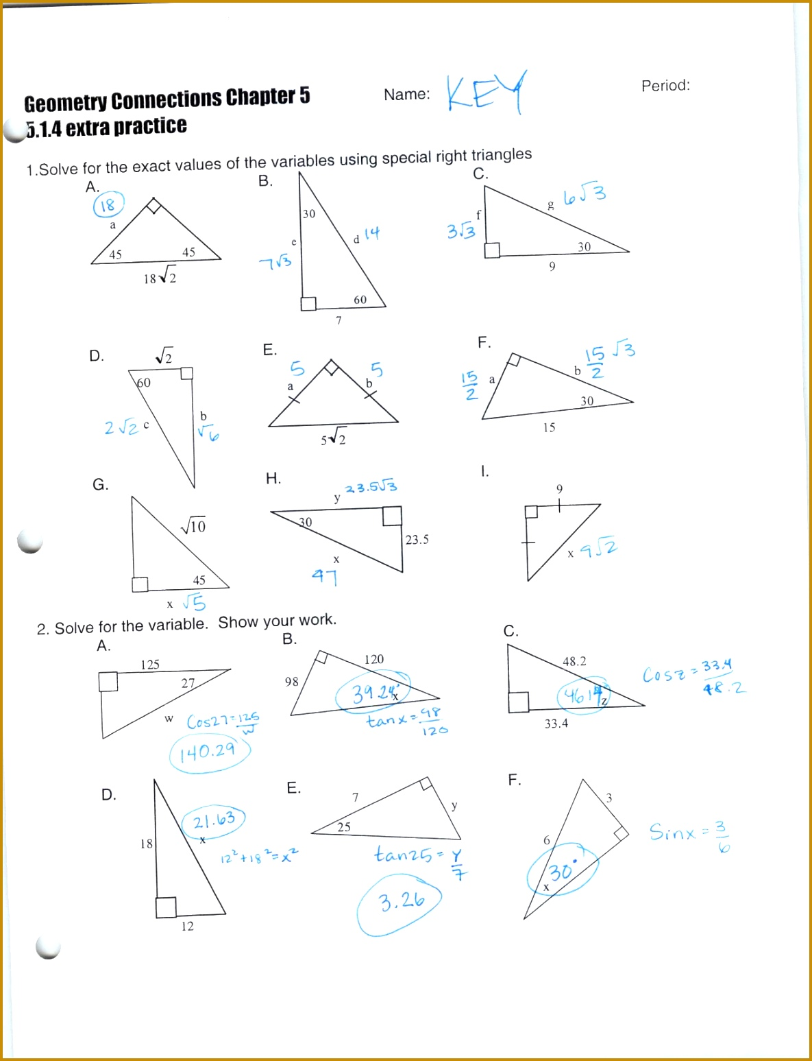 Trigonometric Ratios Worksheet With Answers