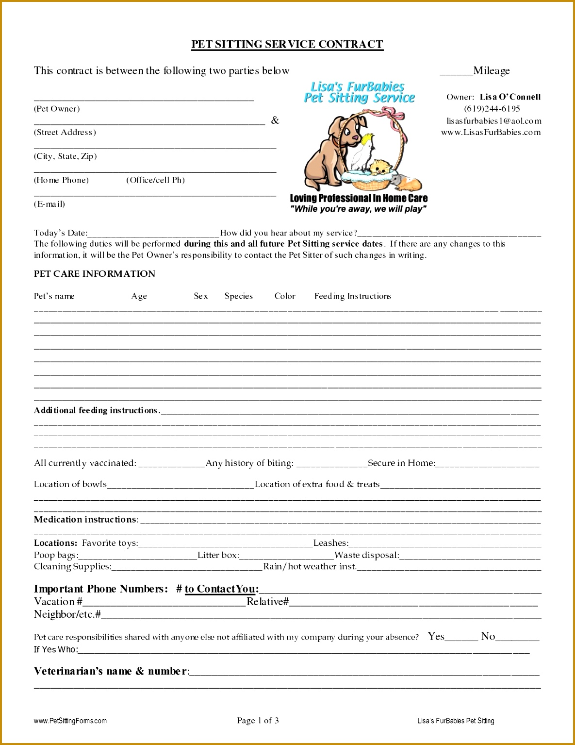 3 Client Profile Worksheet For Pet Keeping