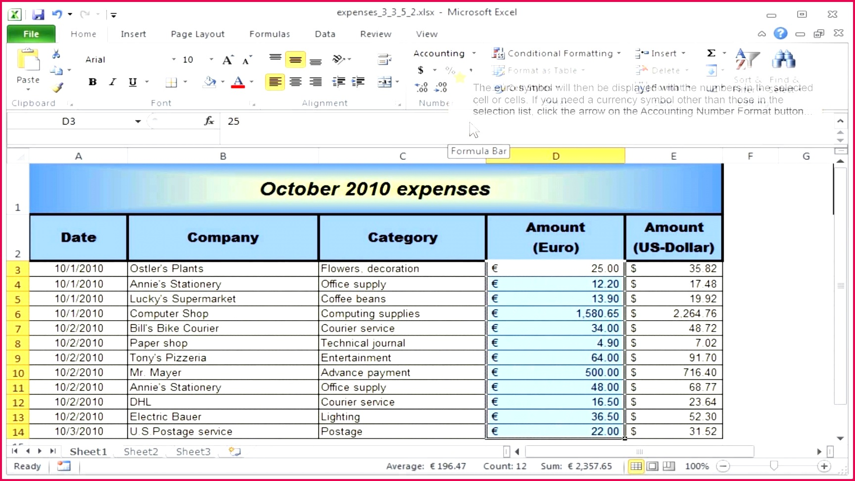 6 Business Accounting Spreadsheet