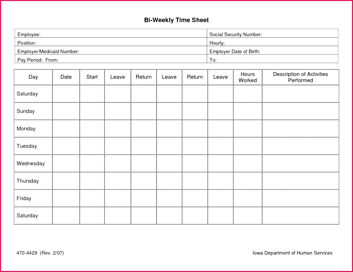 5 Digital Timesheet Template