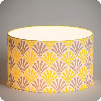 Abat jour design pour lampe lampadaire ou suspension en tissu motif vintage gris jaune  Peacock
