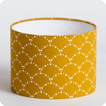 Abat jour design pour lampe lampadaire ou suspension en tissu motif japonais  Asahi moutarde