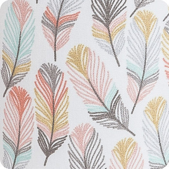 Lampe  poser design en tissu motif plume pastel  Envol