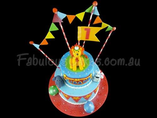 Animals First Birthday Cake