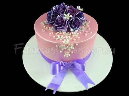 Pink Birthday Cake with Purple Roses
