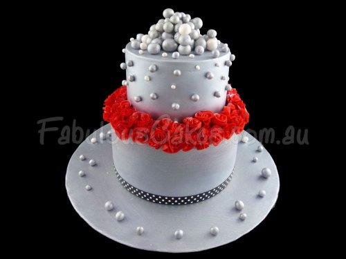 Simple Silver Wedding Cake