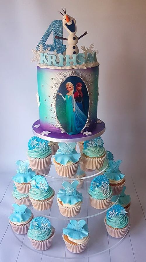 Frozen cake and cupcakes