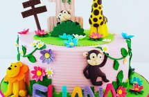 Pink Jungle Theme Cake for a Girl
