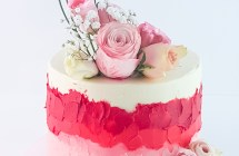 Shades of Pink Buttercream Cake with Fresh Flowers