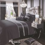 Charcoal Black Shimmer Diamante Sparkle Crushed Velvet Duvet Cover Luxury Modern Bedding Range