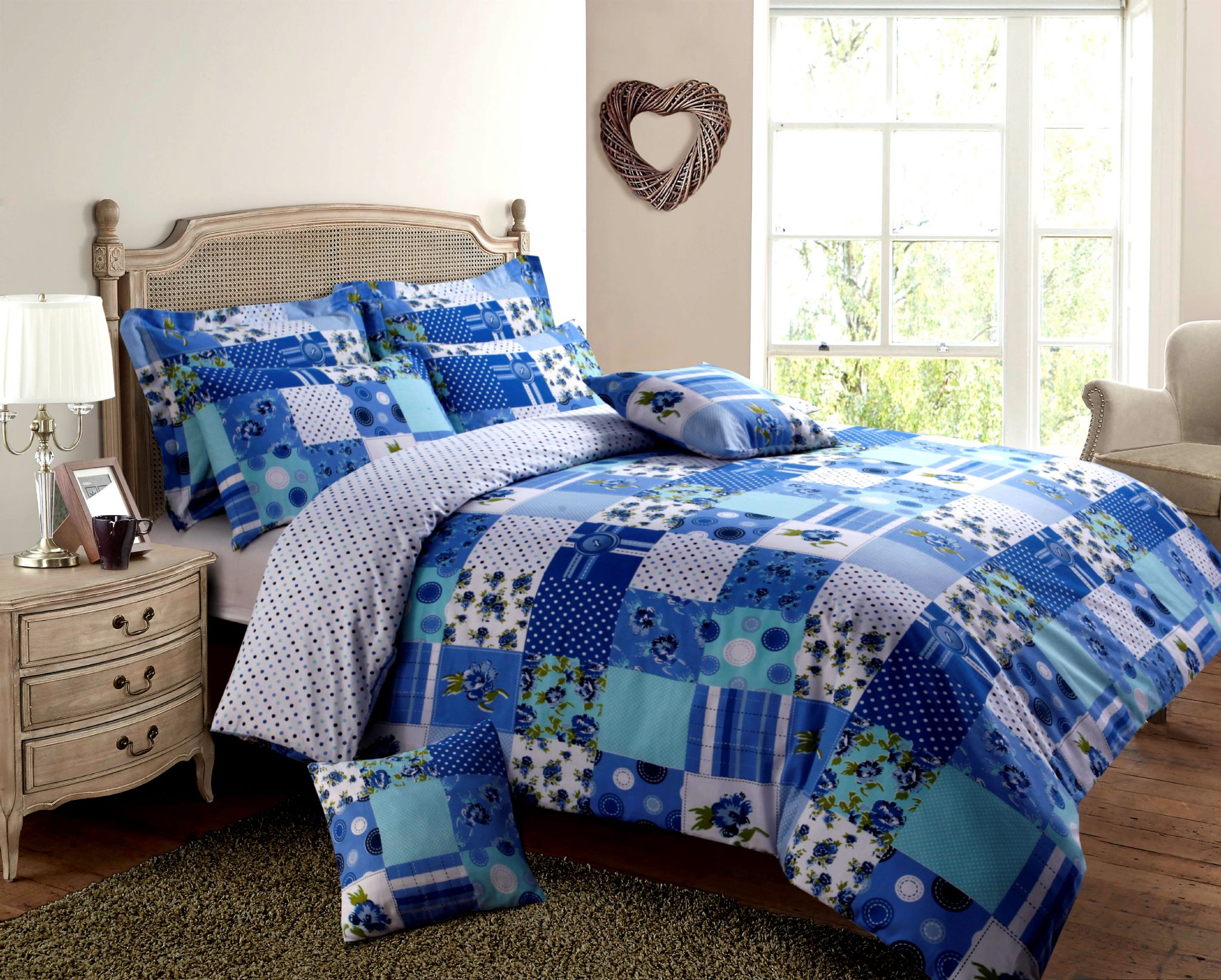 value city furniture sofa bed replacement cushion covers for dfs sofas blue & turquoise colour patchwork design reversible ...