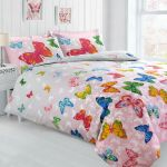 Butterfly Bedding Printed Duvet Cover Pillowcase Blush Pink Grey Multi 2 Tone