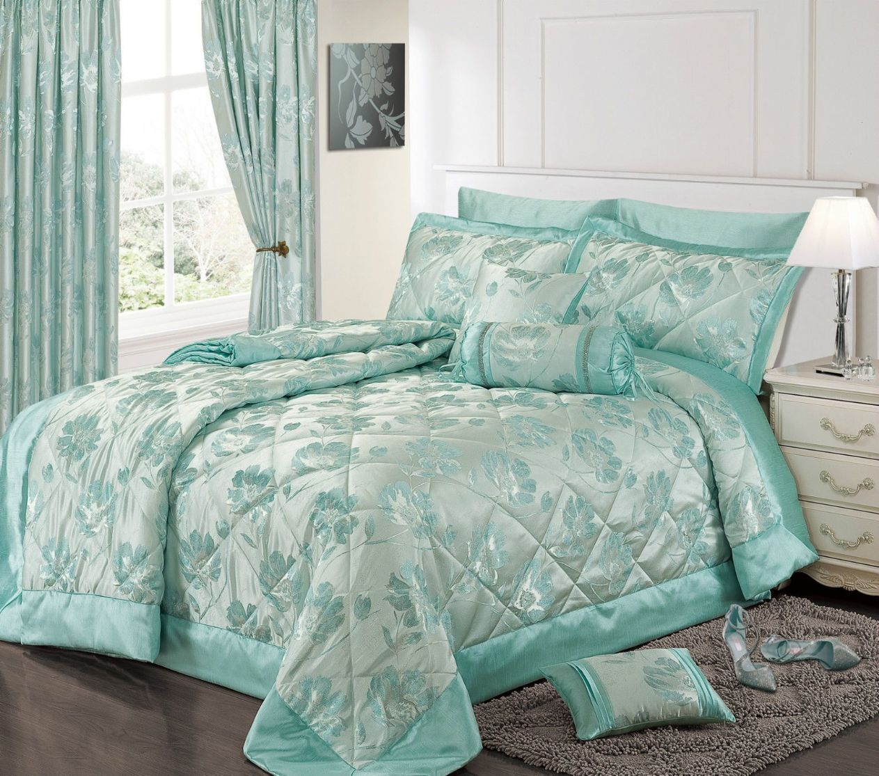 DUCK EGG BLUE COLOUR STYLISH FLORAL JACQUARD LUXURY EMBELLISHED QUILTED BEDSPREAD SET