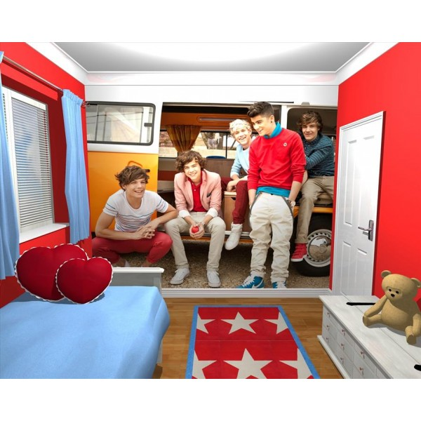 large sofa seat covers fairmont bed giant wallpaper wall mural 1d one direction bedroom themed ...