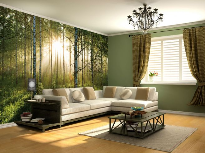 odd shaped sofa covers beige fabric set giant wallpaper wall mural forest trees themed design
