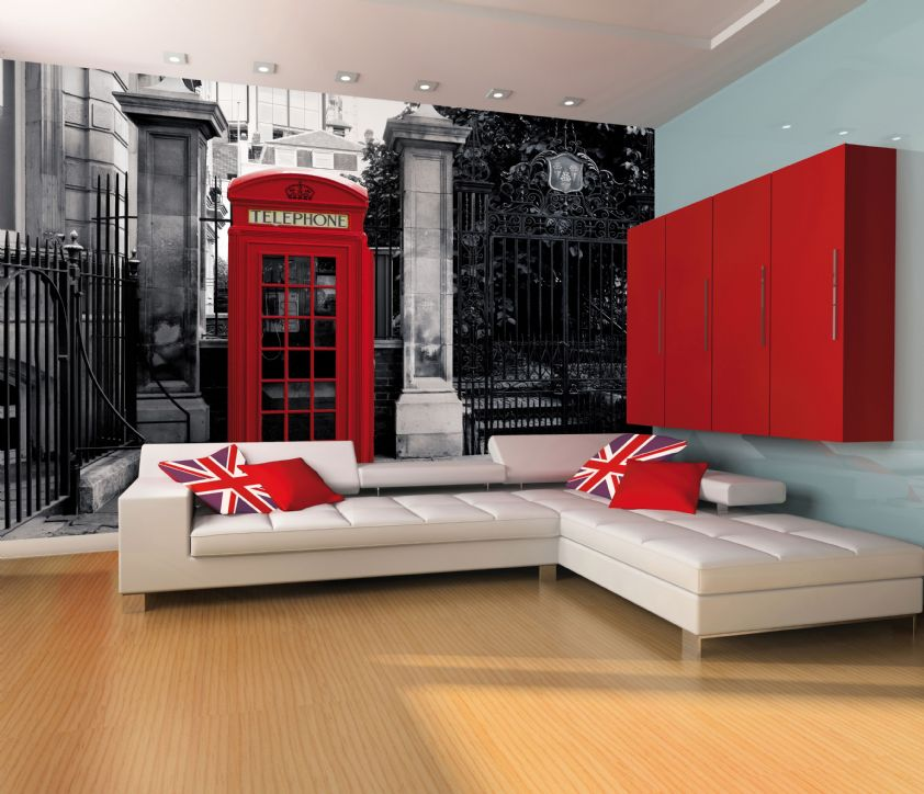 GIANT WALLPAPER WALL MURAL LONDON TELEPHONE BOX VINTAGE