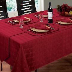 Christmas Dining Chair Covers Uk Best Folding Camp Jacquard Tablecloth Round Oblong Square Burgundy