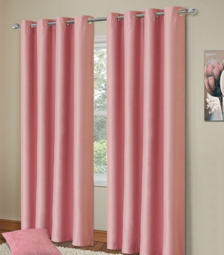 Plain Baby Pink Colour Thermal Blackout Bedroom Livingroom Readymade Curtains Ringtop Eyelets
