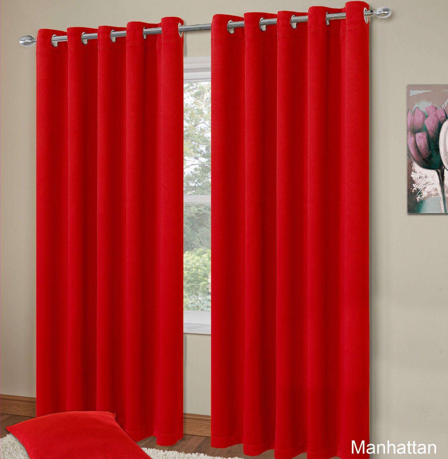 plain red colour thermal blackout bedroom livingroom readymade