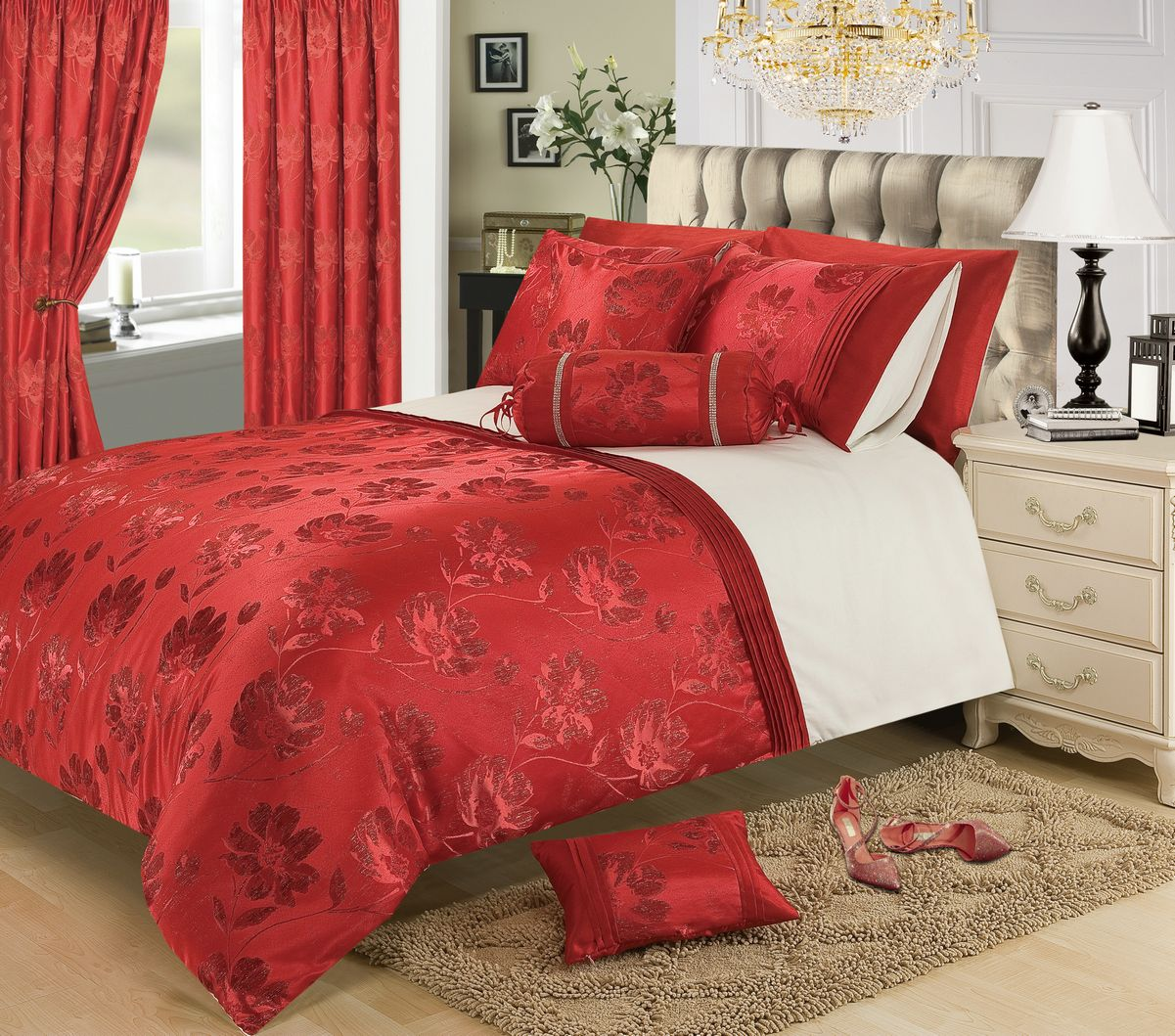 RED BURGUNDY COLOUR STYLISH FLORAL JACQUARD DUVET COVER LUXURY BEAUTIFUL GLAMOUR BEDDING