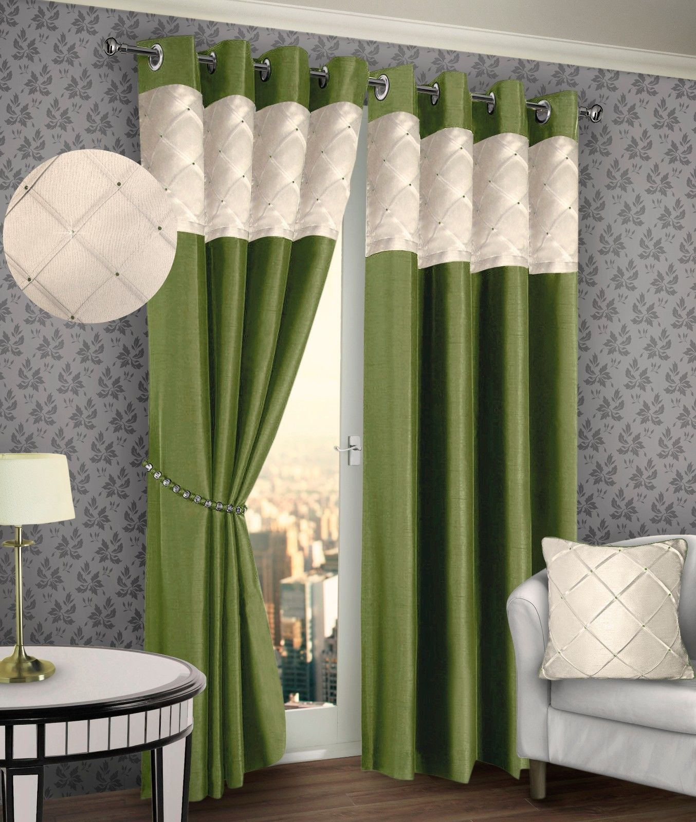 sofa glasgow repair bed frame ringtop eyelet lined pintuck curtain faux silk lime green ...
