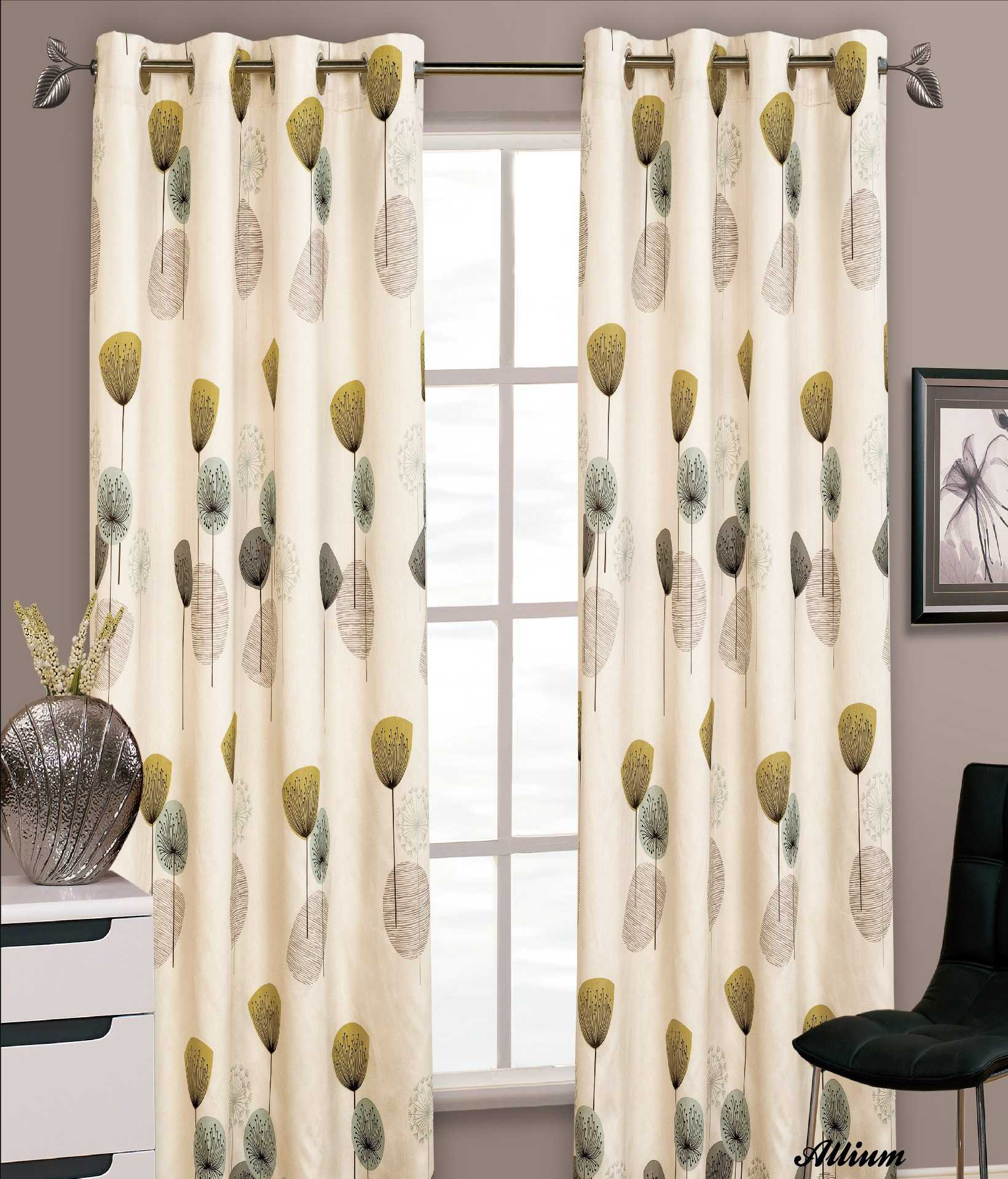 STYLISH FLORAL RING TOP EYELET LINED CURTAINS FAUX SILK TEAL LIME