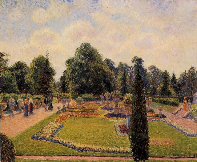 Camille Pissarro - Kew Gardens Path between the pond and the palm